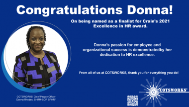 Employee Spotlight: Donna Rhodes named as a finalist for Crain's 2021 Excellence in HR award.